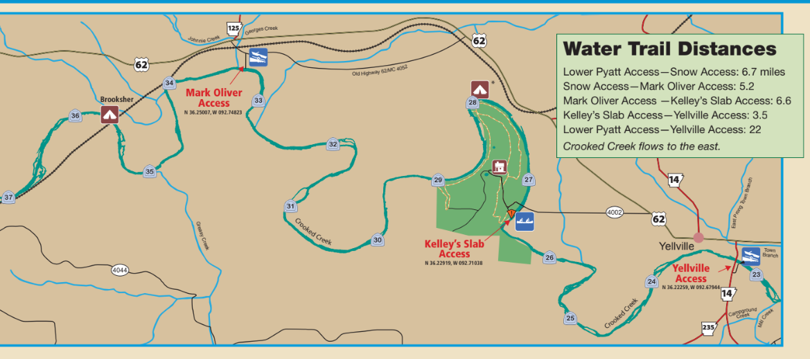 Map of Crooked Creek in Arkansas